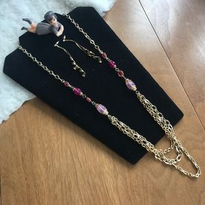 💎 Pink & Gold Tone Necklace & Earrings